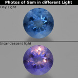 thumb image of 11.5ct Round Facet Violet-Blue Color-Change Fluorite (ID: 414409)