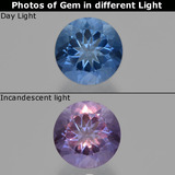 thumb image of 11.2ct Round Facet Violet-Blue Color-Change Fluorite (ID: 414619)