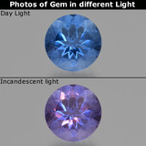 thumb image of 11.3ct Round Facet Violet-Blue Color-Change Fluorite (ID: 414625)