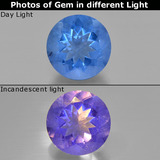 thumb image of 14ct Round Facet Violet to Blue Color-Change Fluorite (ID: 414725)