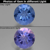 thumb image of 11.6ct Round Facet Violet-Blue Color-Change Fluorite (ID: 445132)