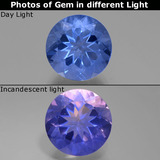 thumb image of 11.1ct Round Facet Violet-Blue Color-Change Fluorite (ID: 445134)