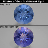 thumb image of 11.8ct Round Facet Violet-Blue Color-Change Fluorite (ID: 445137)
