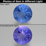 thumb image of 11.5ct Round Facet Violet-Blue Color-Change Fluorite (ID: 445413)