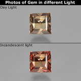 thumb image of 0.7ct Princess-Cut Golden Brown to Pink Color-Change Garnet (ID: 240551)