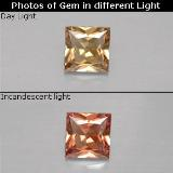 thumb image of 0.6ct Princess-Cut Golden Brown to Orange Color-Change Garnet (ID: 252114)