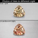 thumb image of 0.6ct Trillion Facet Golden Brown to Pink Color-Change Garnet (ID: 252661)