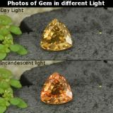 thumb image of 0.8ct Trillion Facet Golden Brown to Orange Color-Change Garnet (ID: 252663)