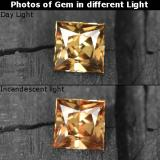 thumb image of 0.6ct Princess-Cut Golden Brown to Orange Color-Change Garnet (ID: 253539)