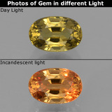 thumb image of 0.7ct Oval Facet Greenish Brown to Orange Color-Change Garnet (ID: 327739)