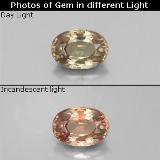thumb image of 0.6ct Oval Facet Greenish Brown to Orange Color-Change Garnet (ID: 329385)