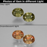 thumb image of 0.5ct Oval Facet Greenish Brown To Red Pink Color-Change Garnet (ID: 428860)