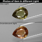 thumb image of 0.8ct Pear Facet Greenish Brown To Red Pink Color-Change Garnet (ID: 428867)