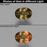 thumb image of 0.6ct Oval Facet Greenish Brown To Red Pink Color-Change Garnet (ID: 429009)