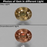 thumb image of 0.8ct Oval Facet Greenish Brown To Red Pink Color-Change Garnet (ID: 429110)