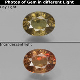 thumb image of 0.9ct Oval Facet Greenish Brown To Red Pink Color-Change Garnet (ID: 429116)