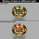 thumb image of 0.9ct Oval Facet Greenish Brown To Red Pink Color-Change Garnet (ID: 429118)
