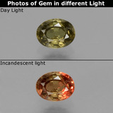 thumb image of 0.6ct Oval Facet Greenish Brown To Red Pink Color-Change Garnet (ID: 429265)