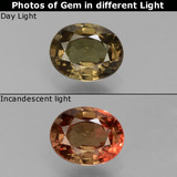 thumb image of 1ct Oval Facet Greenish Brown To Red Pink Color-Change Garnet (ID: 429327)