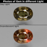 thumb image of 1.1ct Oval Facet Greenish Brown To Red Pink Color-Change Garnet (ID: 429334)