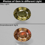 thumb image of 0.8ct Oval Facet Greenish Brown To Red Pink Color-Change Garnet (ID: 429486)