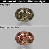 thumb image of 1ct Oval Facet Greenish Brown To Red Pink Color-Change Garnet (ID: 429487)