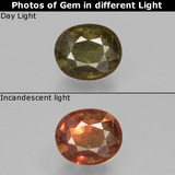 thumb image of 1.4ct Oval Facet Greenish Brown To Red Pink Color-Change Garnet (ID: 429490)