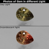 thumb image of 0.5ct Pear Facet Greenish Brown To Red Pink Color-Change Garnet (ID: 429576)