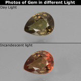 thumb image of 0.5ct Pear Facet Greenish Brown To Red Pink Color-Change Garnet (ID: 429580)