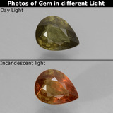 thumb image of 0.5ct Pear Facet Greenish Brown To Red Pink Color-Change Garnet (ID: 429581)