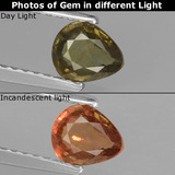 thumb image of 0.6ct Pear Facet Greenish Brown To Red Pink Color-Change Garnet (ID: 429583)