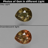 thumb image of 0.6ct Pear Facet Greenish Brown To Red Pink Color-Change Garnet (ID: 429584)