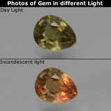 thumb image of 0.6ct Pear Facet Greenish Brown To Red Pink Color-Change Garnet (ID: 429585)