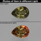 thumb image of 0.7ct Pear Facet Greenish Brown To Red Pink Color-Change Garnet (ID: 429586)
