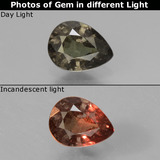 thumb image of 0.8ct Pear Facet Greenish Brown To Red Pink Color-Change Garnet (ID: 429626)