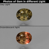 thumb image of 0.6ct Oval Facet Greenish Brown To Red Pink Color-Change Garnet (ID: 429628)