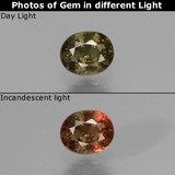 thumb image of 0.5ct Oval Facet Greenish Brown To Red Pink Color-Change Garnet (ID: 429629)