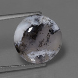 thumb image of 7.6ct Round Cabochon Black White Dendritic Chalcedony (ID: 447408)