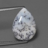 thumb image of 5.1ct Pear Cabochon Multicolor Dendritic Chalcedony (ID: 447439)