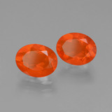 0.70 ct Oval Facet Deep Reddish Orange Fire Opal Gem 7.60 mm x 5.9 mm (Photo B)