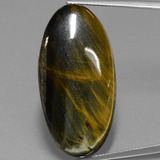 thumb image of 31.3ct Oval Cabochon Multicolor Hawk's Eye (ID: 393832)
