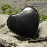 thumb image of 23.4ct Heart Cabochon Black Gray Hematite (ID: 273241)
