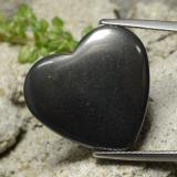 thumb image of 23.1ct Heart Cabochon Black Gray Hematite (ID: 322395)