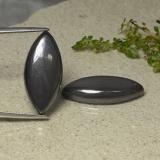 thumb image of 17.7ct Marquise Cabochon Black Gray Hematite (ID: 491892)
