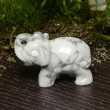 thumb image of 144.1ct Carved Elephant Greyish White Howlite (ID: 448485)