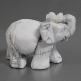thumb image of 632.7ct Carved Elephant Greyish White Howlite (ID: 448487)