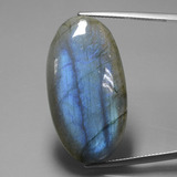 thumb image of 35.9ct Oval Cabochon Gray Blue Sheen Labradorite (ID: 391479)