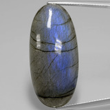 thumb image of 29.4ct Oval Cabochon Gray Blue Sheen Labradorite (ID: 391523)