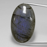 thumb image of 29.6ct Oval Cabochon Gray Blue Sheen Labradorite (ID: 391526)