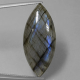 thumb image of 26.8ct Marquise Cabochon Gray Blue Sheen Labradorite (ID: 431854)